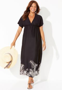 Kate V-Neck Cover Up Maxi Dress, BLACK SILVER PALM