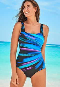 Chlorine Resistant Lycra Xtra Life Square Neck One Piece Swimsuit,