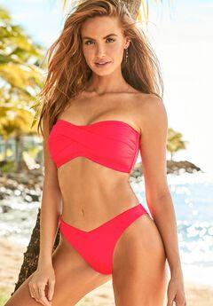Valentine Ruched Bandeau Bikini Set with Cheeky Brief,
