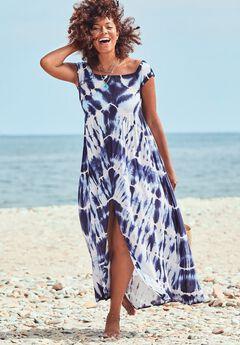 Harper Tie Dye Cover Up Maxi Dress, BLUE TIE DYE