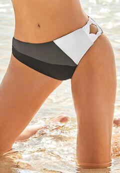 Romancer Colorblock Bikini Bottom, BLACK ANCHOR WHITE