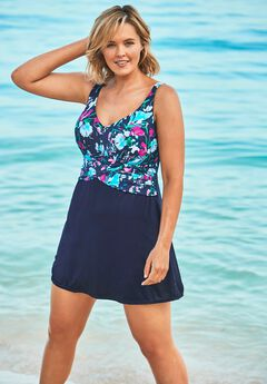 Faux Wrap Swimdress, NAVY MULTI