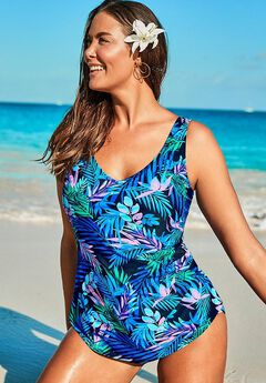 Sarong Front One Piece Swimsuit, BLUE PINK FLORAL