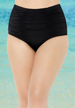Shirred High Waist Swim Brief,
