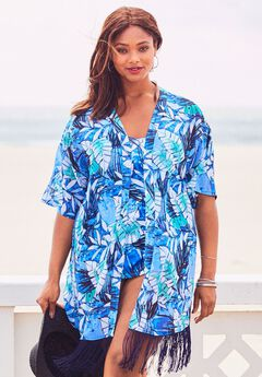 Fringe Kimono Coverup, BLUE WATERCOLOR PALM PRINT
