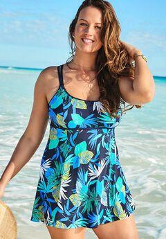 Lingerie Strap Swimdress, BLUE GREEN FLORAL