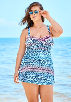 Twist-Front Swim Dress, MULTI GEO