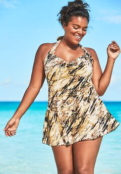 Retro Halter Swim Dress,