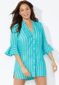 Sandra Button Up Cover Up Shirt, TEAL