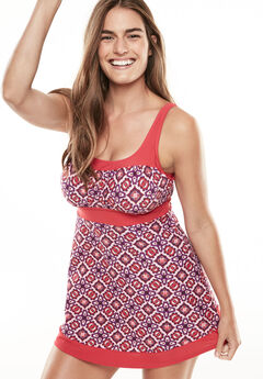Peasant fit-and-flare swimdress,