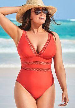 Lattice Plunge One Piece Swimsuit, RED