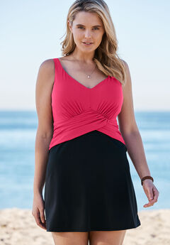 Faux Wrap Swimdress, BRIGHT FUCHSIA BLACK