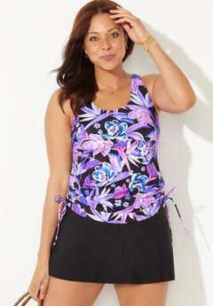 Side-Tie Adjustable Tankini Set with Skirt,