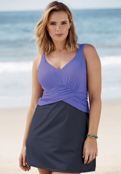 Underwire Swim Dress, DUSTY PURPLE NAVY