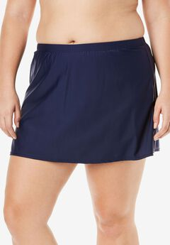 Side-Slit Swim Skirt with Built-in Brief,