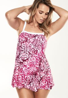 Banded Swimdress with Contrast Trim,