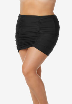 Shirred High-Waist Swim Skirt by Raisins Curve, BLACK