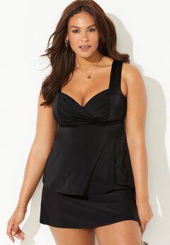 Sweetheart Draped Tankini Set with Skirt,
