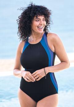 Colorblock One-Piece Swimsuit with Shelf Bra,