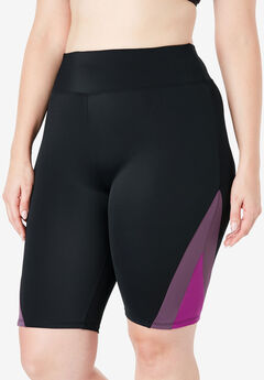 Colorblock Swim Shorts with Sun Protection,