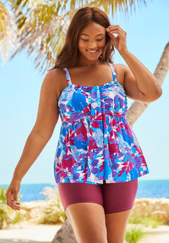 Flyaway Tankini Top with Bust Support,