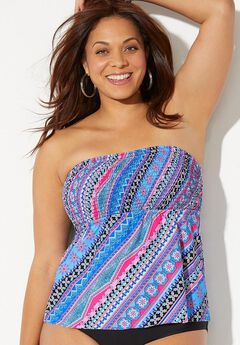 Smocked Bandeau Tankini Top,
