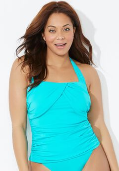 Drapey Ruched Halter Tankini Top,