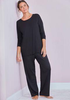 Zoey Ribbed Long Sleeve Shirt, BLACK