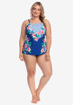 High-Neck Tankini Top by 24th & Ocean, TROPICAL VIBIN MULTI