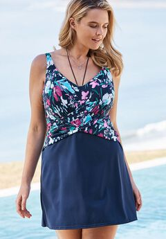 Underwire Swimdress, NAVY MULTI