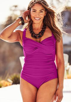 Twist-Front One-Piece Swimsuit, BRIGHT FUCHSIA