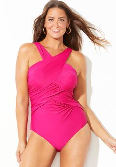 High Neck Wrap One Piece Swimsuit, PINK