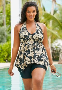 Flared Tankini Top with Bust Support,
