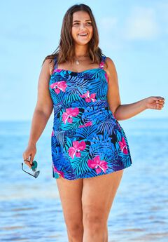 Twist-Front Swimdress with Twist Detail,