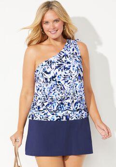 One Shoulder Blouson Tankini Set with Skirt,