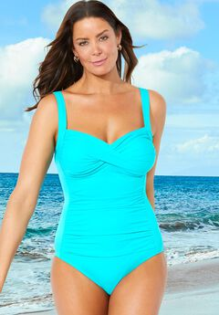 Ruched Twist Front One Piece Swimsuit, HAPPY TURQ