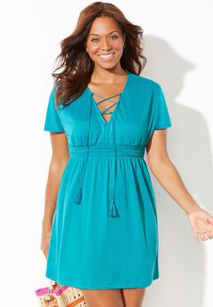 Coralee Smocked Waist Dress Cover Up,