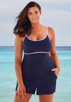 Fit-And-Flare Tankini Top by Beach Belle,