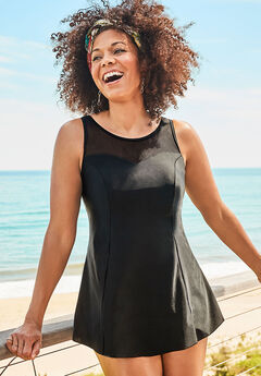 Mesh High Neck Swimdress, BLACK