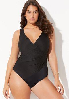 Ribbed Surplice One Piece Swimsuit,