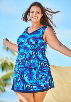 2-Piece Swim Skirtini Set, BLUE TROPICAL PALM