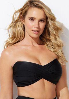 Valentine Ruched Bandeau Bikini Top, BLACK