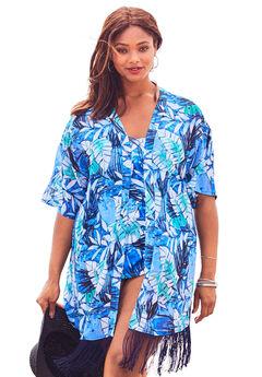 Fringe Kimono Coverup, BLUE WATERCOLOR PALM PRINT