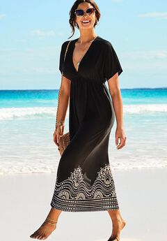 Kate V-Neck Cover Up Maxi Dress, BLACK