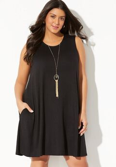 Jordan Pocket Cover Up Dress, BLACK