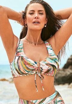 Ashley Graham Lace Up Bikini Top,