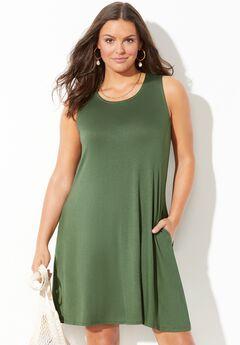 Jordan Pocket Cover Up Dress, OLIVE