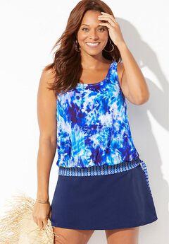 Side Tie Blouson Tankini Set with Skirt,