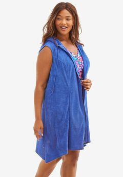 Sleeveless Terry Coverup with Hood,