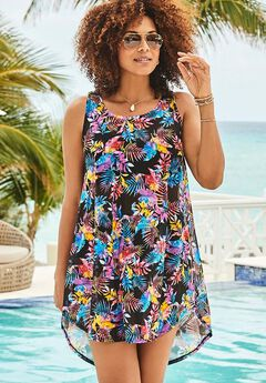 Quincy Mesh High Low Cover Up Tunic, WATERCOLOR FLORAL
